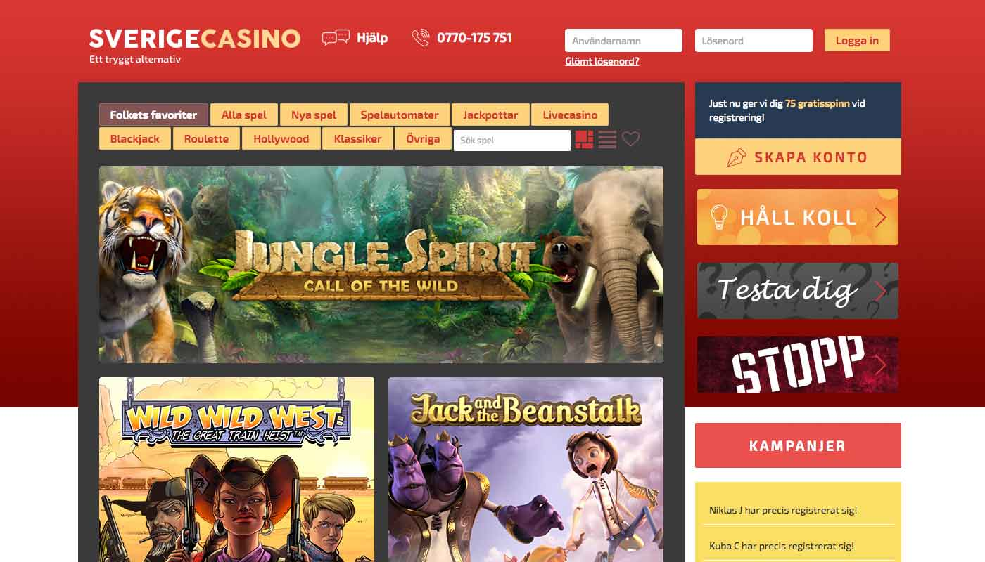 SverigeCasino screenshot